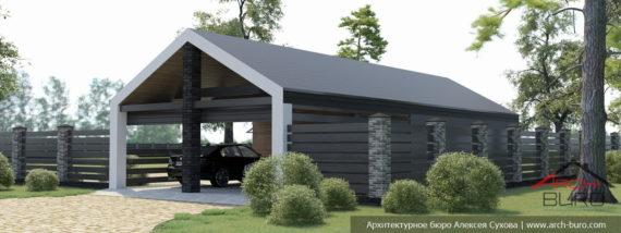 Проект гаража на 2 машины и навесом для ещё 2-х машин