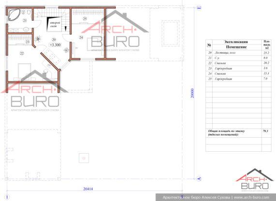 План мансарды в доме-бани в стиле барнхаус