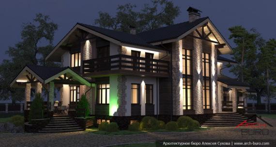 Подсветка фасада частного жилого дома