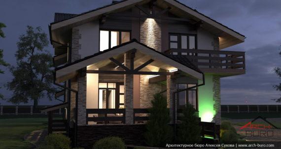 Подсветка фасада дома. Вид на террасу