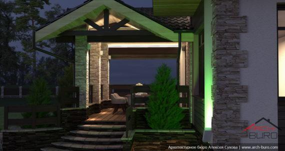 Подсветка фасада дома. Вид на крытую террасу. RGB освещение