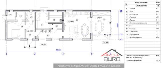 Планировка одноэтажной бани