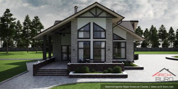 Дом с мансардой и террасой