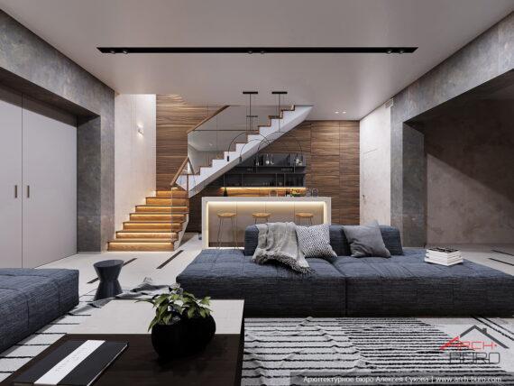 Дизайн европейского интерьера в спа зоне в цокольном этаже коттеджа