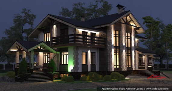 Ночная подсветка дома