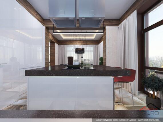 Остров кухни в европейском дизайне