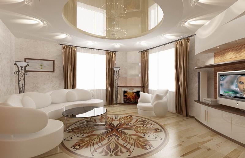Дизайн зала коттеджах