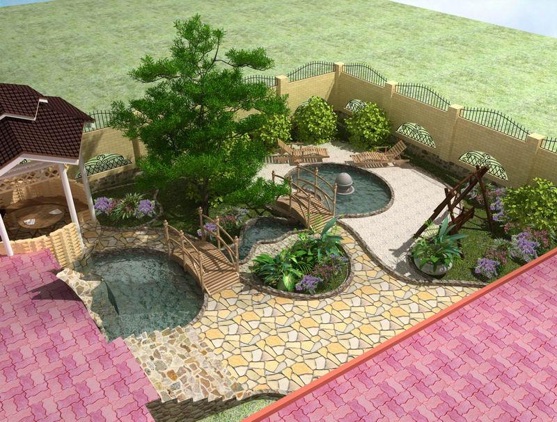Ландшафтный дизайн с беседкой перед домом