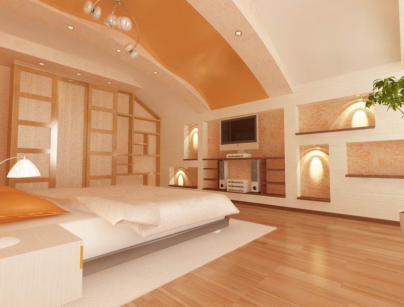 Потолок из гипсокартона мансарды спальни дизайн