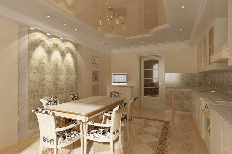 Дизайн потолка столовой в