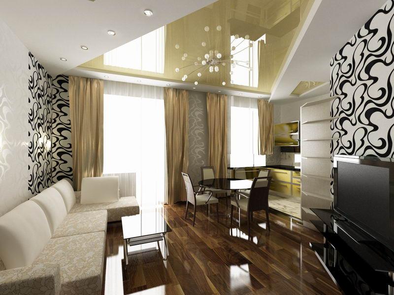 Дизайн гостиной-кухни в квартире
