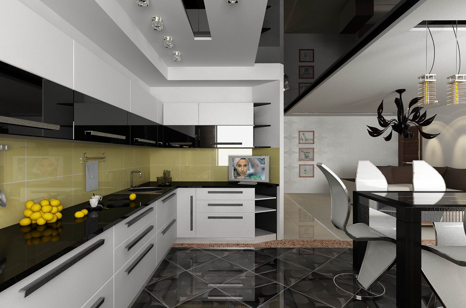Интерьеры с черными кухнями