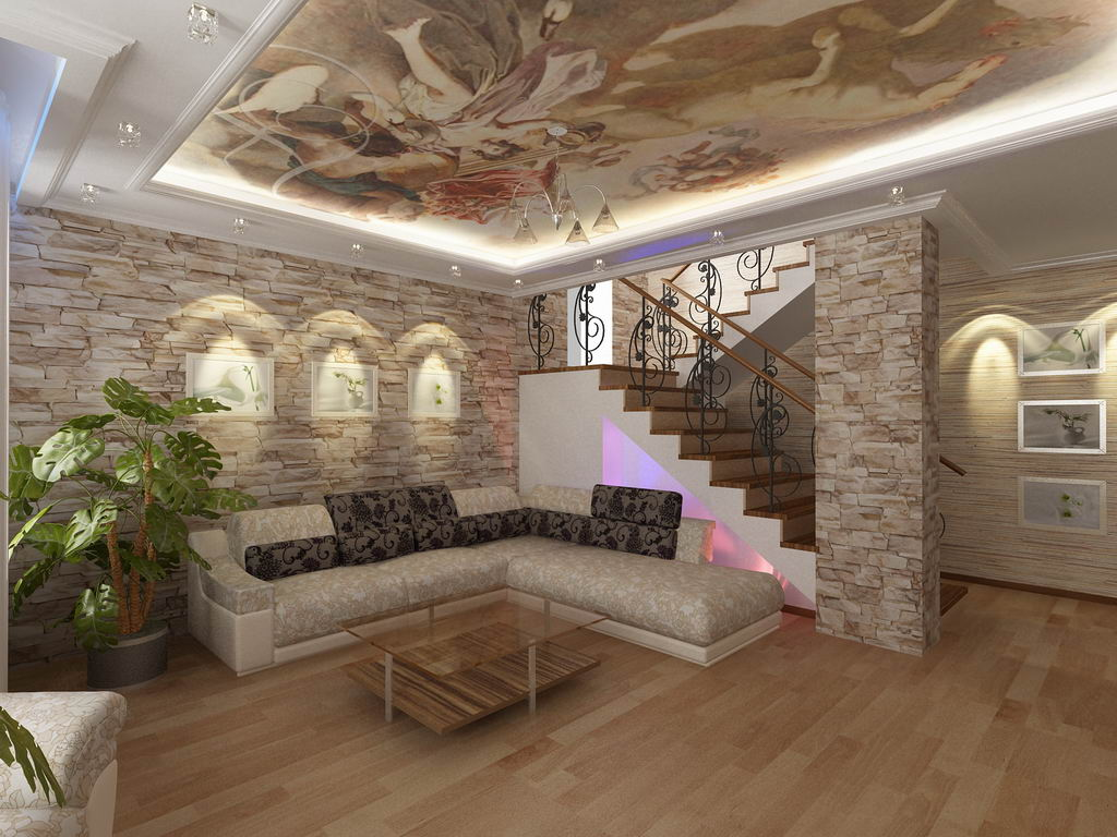 Дизайн интерьера гостиной в 2 х