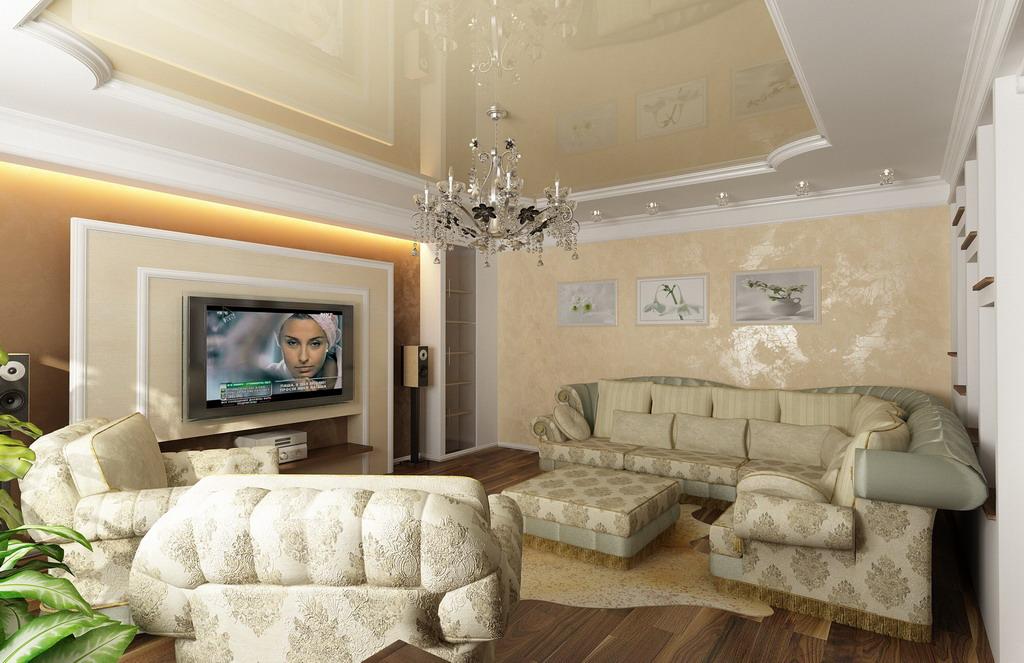 Дизайн зала 18 кв.м с аркой