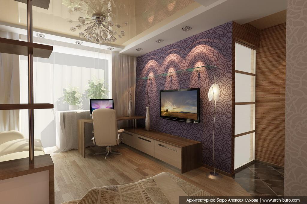 Дизайн спальни гостиной 17