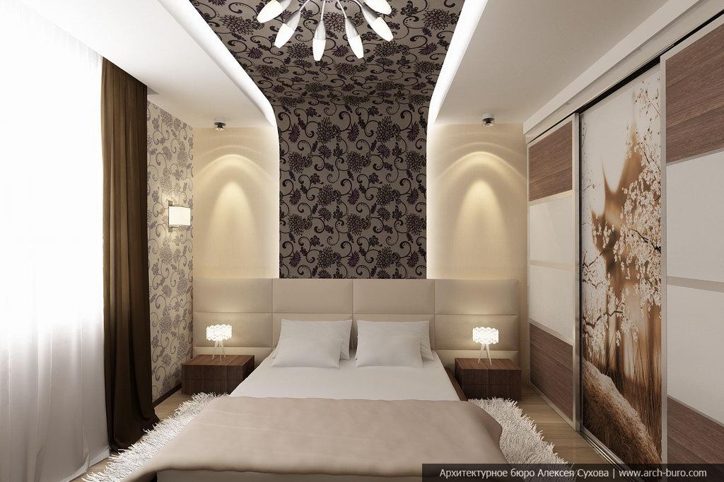 Интерьер спальни и балкона совмещенного