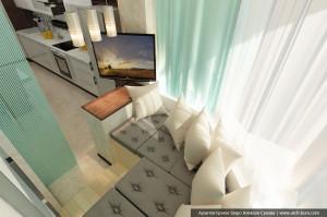 Дизайн квартиры в городе Тарко-Сале. ЯНАО. Интерьер тёплой лоджии