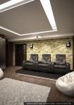 Дизайн интерьера дома-коттеджа. Цокольный этаж. Домашний кинотеатр
