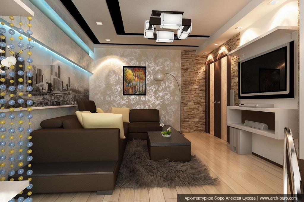 Интерьер узкой гостиной в современном стиле фото