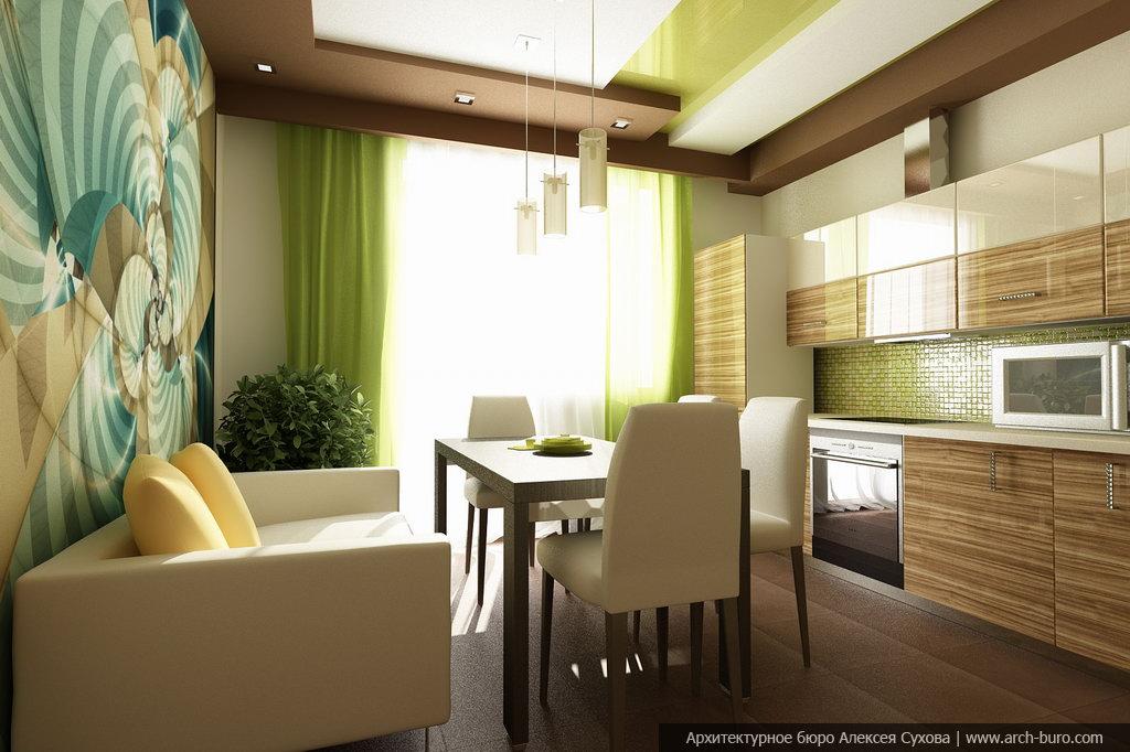 интерьер кухни фото в салатовом цвете
