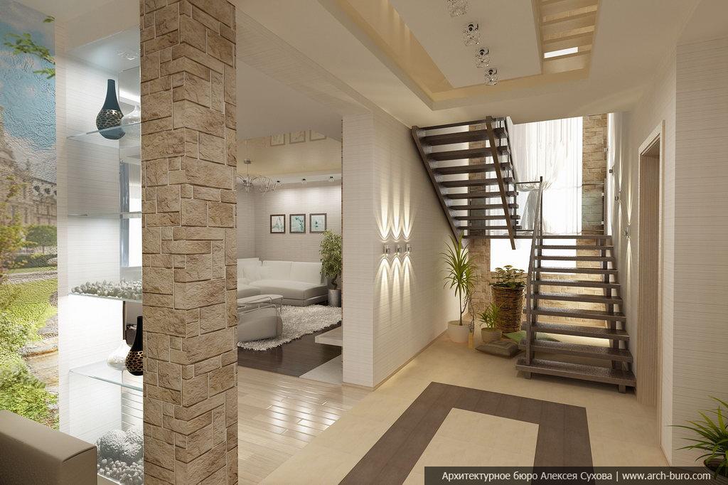 Дизайн интерьера первого этажа коттеджа фото