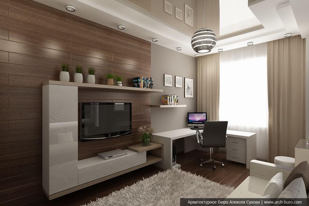 Совмещенная спальня с кабинетом на балконе дизайн..