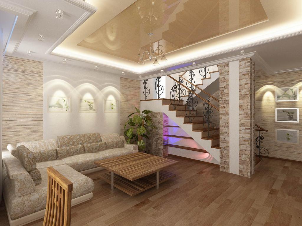 Дизайн потолка в гостиной в частном доме