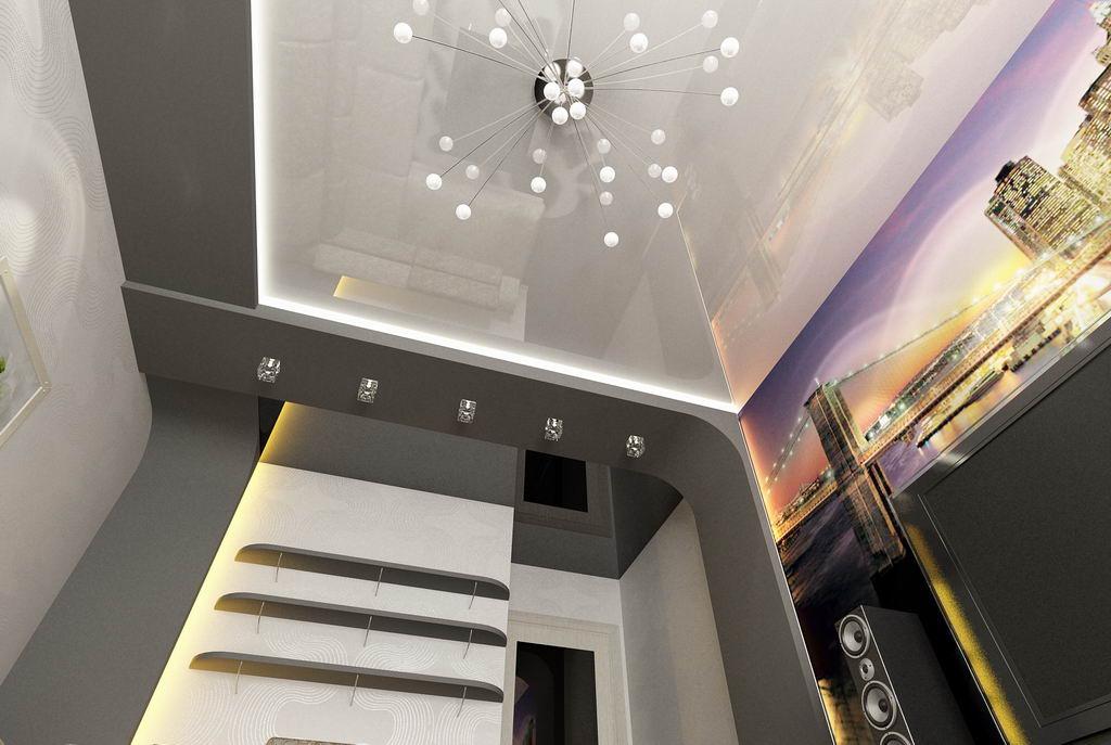 Дизайн короба из гипсокартона на потолке