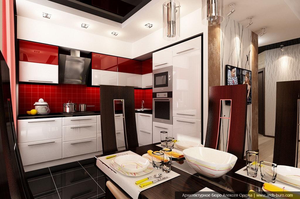 Гостиная кухня столовая и прихожая