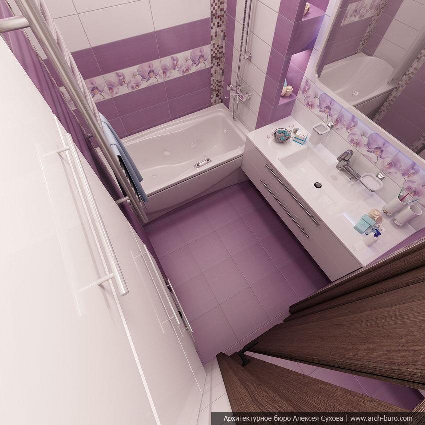 Сиреневая ванная комната дизайн 3 кв м