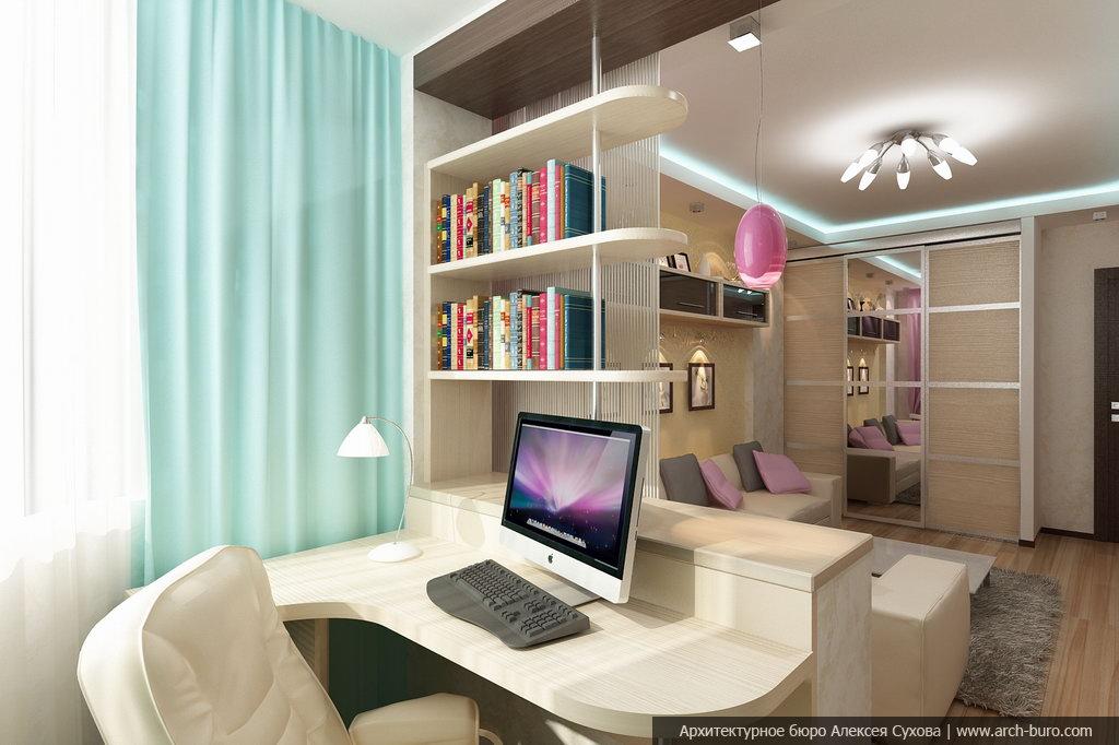 Гостиная-кабинет дизайн