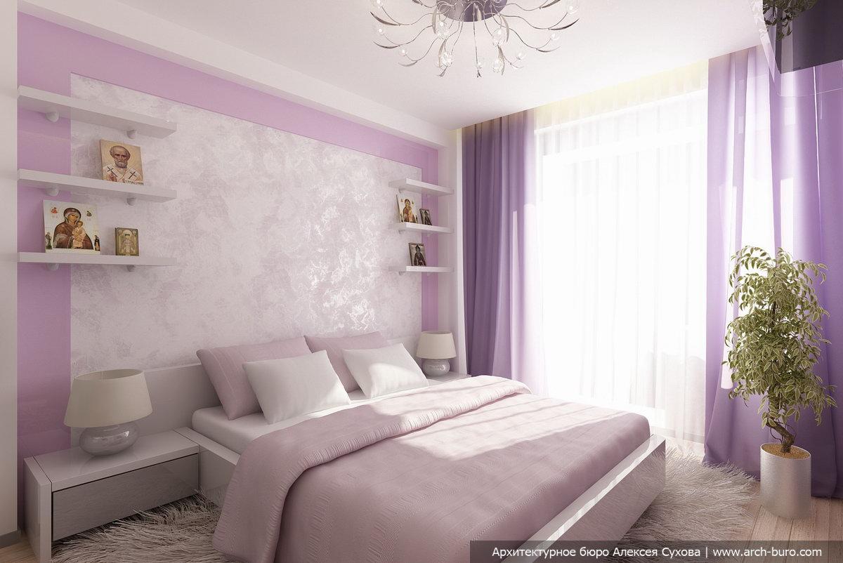 обои фиолетового цвета для спальни