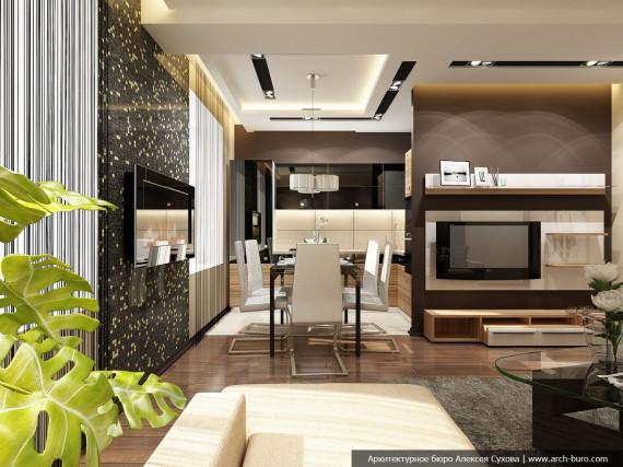 Зал квартиры с кухней