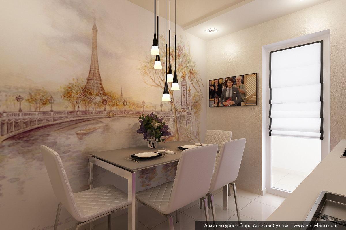 Дизайн стен на кухне над обеденным столом
