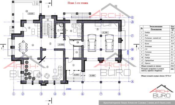 План 1-го этажа. Современный проект коттеджа