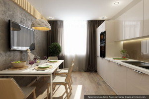 Интерьер кухни-столовой. Дизайн 3 комнатной квартиры