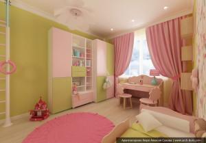 Комната девочки в дизайне квартиры. Академический Екатеринбург