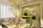 Кухня-столовая в дизайне двухуровневой квартире