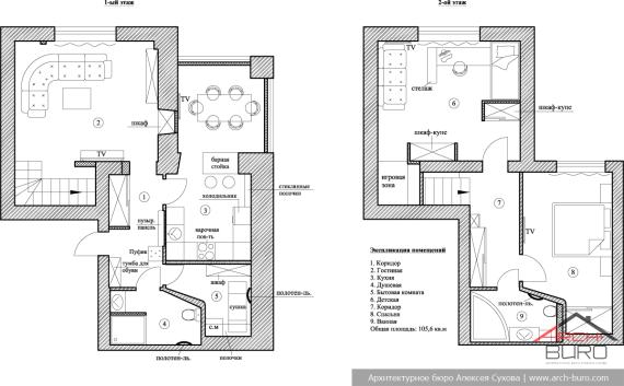 План двухуровневой квартиры