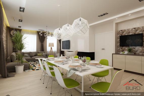 Интерьер кухни совмещенной с гостиной в загородном