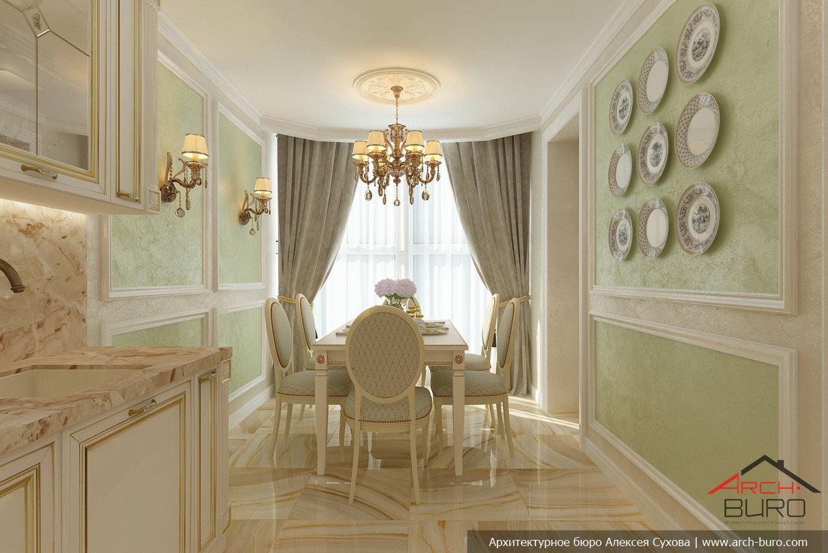 Оформление кухни-столовой в классическом стиле интерьерные ш.