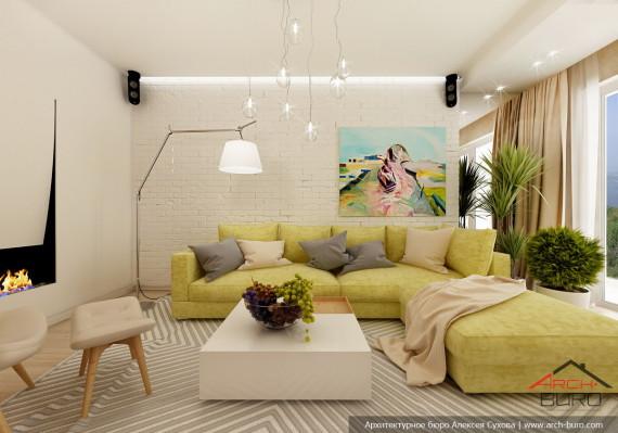Гостиная. Дизай интерьеров 3 комнатной квартиры, г. Хабаровск