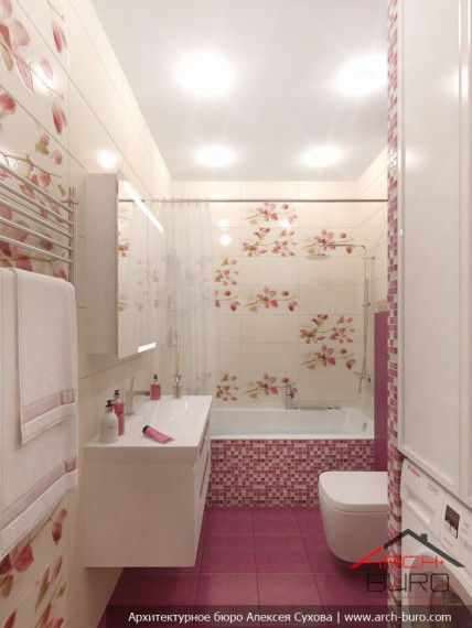 Ванная комната. Дизай интерьеров 3 комнатной квартиры, г. Хабаровск