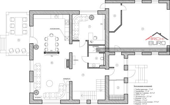 План 1-го этажа коттеджа в Башкоркостане, г. Уфа