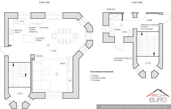 План с расстановкой мебели в коттедже с камином, фото смотрите ниже