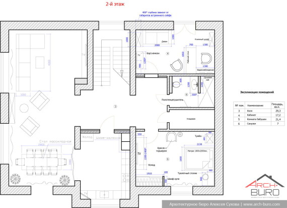 План 2-го этажа. Дизайн коттеджа г. С. Петербург