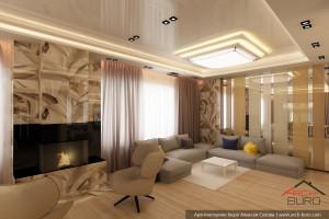 Коттедж в Санкт Петербурге. Дизайн гостиной