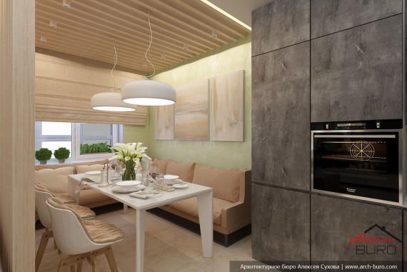 Дизайн кухни-столовой в г. Якутск