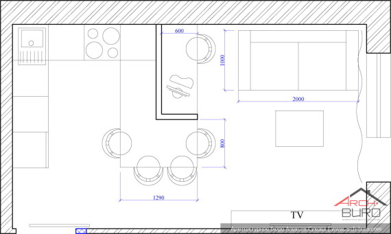 Планировка комнаты студии