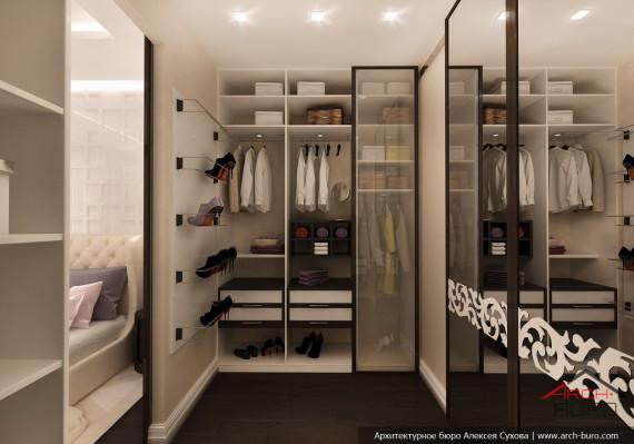 Дизайн квартиры в Астане. Казахстан. Интерьер гардеробной комнаты